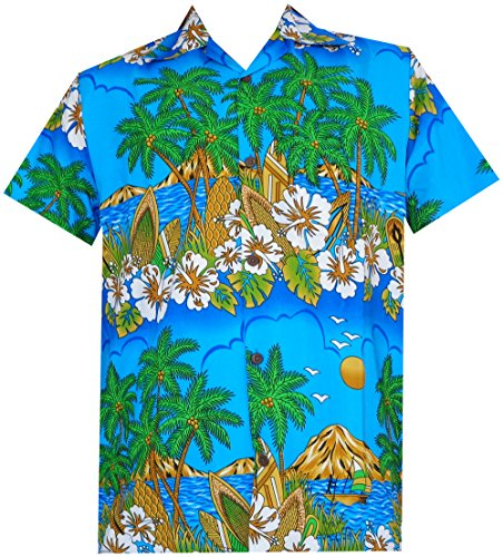 Alvish Hawaiian Shirts 44 Mens Floral Scenic Print Beach Aloha Party Camp Sky Blue 3XL