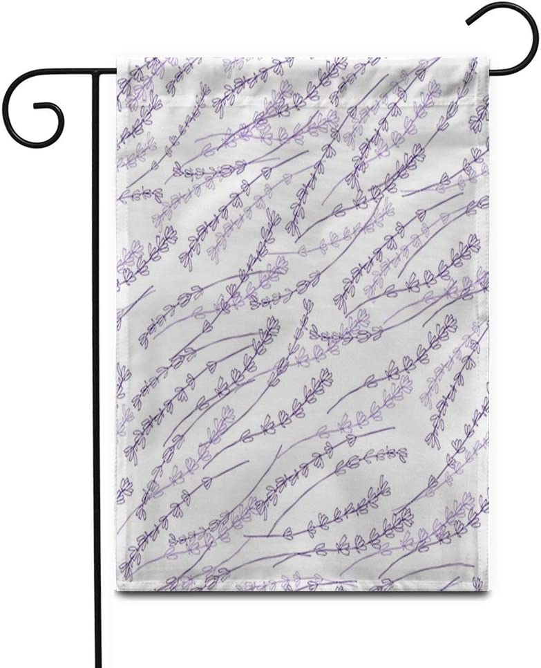 "Awowee 28""x40"" Garden Flag Purple Herbal Lavender Colorful Pattern Flower Sketch Packaging Field Outdoor Home Decor Double Sided Yard Flags Banner for Patio Lawn"