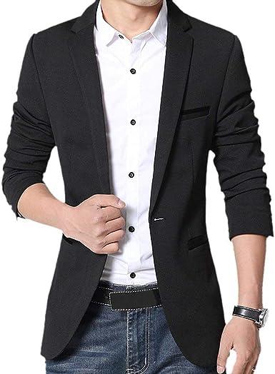 Veste Blazer Homme Coton Slim fit Casual Solide Manteau