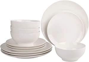 Dinnerware Set – 12 pcs Dish Set for 4 –Durable Porcelain Dinnerware Set with Sets, Plates and Bowls – Microwave, Oven and Dishwasher Safe Dinnerware set – Chip-resistant Plates – Plain White