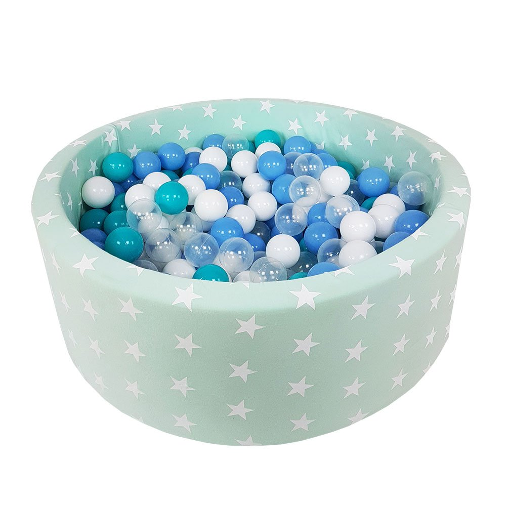 MeowBaby Kids Play Ball Pit Stars 90X30 200 Balls Made In EU Safety Tested, Light Blue: Transparent/Light Blue/Turquoise