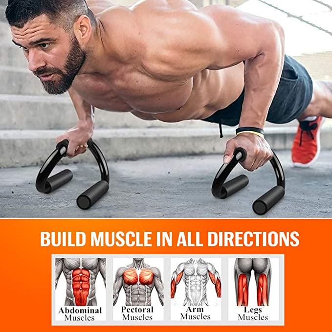 BOSWELL Push-Up Bars Multifunctional 3-in-1 Push-up Stand with Training Aid Mat and Skipping Rope Home Gym I-Shaped Chest Muscle Fitness Equipment/for Men and Women