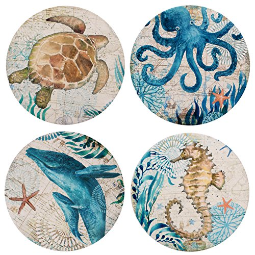 Ceramic Coaster Set of 4,Absorbent Stone Coasters for Cold Drinks Coffee Mug Glass Cup Place Mats (Ocean ()