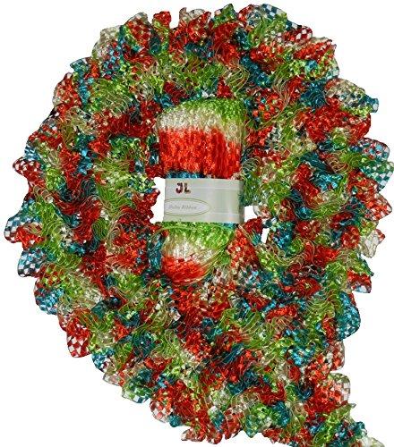 (Delta 100g Scarf Ruffle Ribbon Yarn 905 Christmas 44yrds)