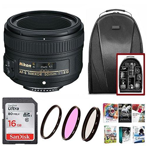 Nikon AF-S Nikkor 50mm f/1.8G Lens + Filters + 16GB Memory Card + Software Suite + Backpack + Kit