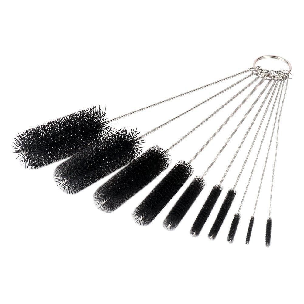 LOUFIMIDON Nylon Brush Set, 8.2 Inches Pipe Cleaner Brush Nylon Bottle Nozzle Tube Brush Set of 10 (10, Black)