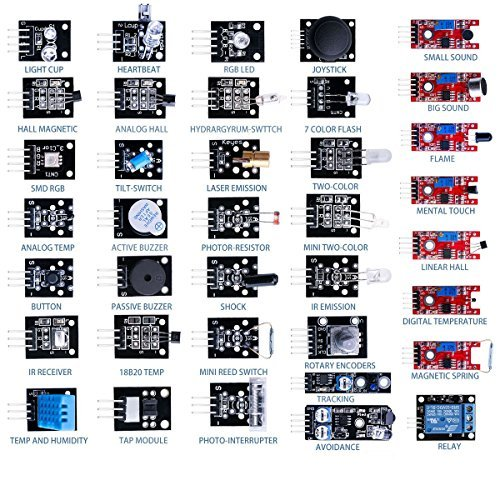 Hengjiaan 37 in 1 Arduino Sensor Module Kit Pack Learning Package Kit for Arduino UNO