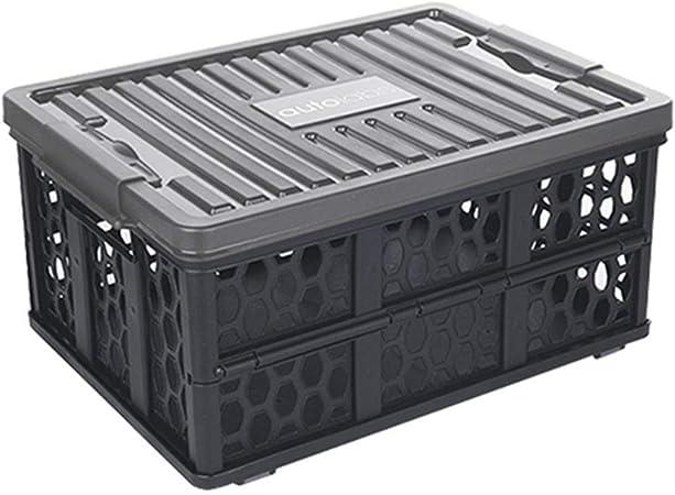 ZHANGQIANG-Organizador Maletero Coche Cajas De Almacenamiento Plegables con Tapas Cubo De Almacenamiento De Tela con Almacenamiento De Portaetiquetas (Color : Negro, Tamaño : 49 * 35 * 23.5cm): Amazon.es: Hogar
