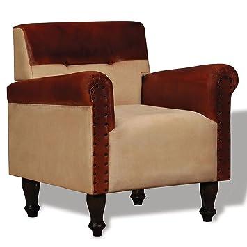 Luckyfu esta sillón de auténtica Piel y Tejido Marrón y ...