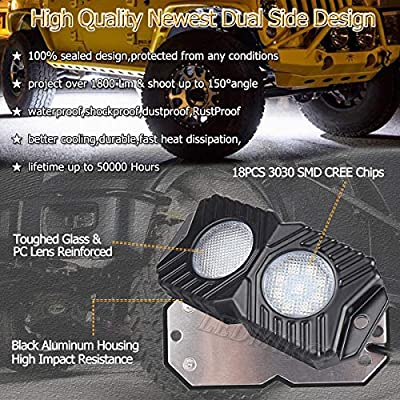 LEDMIRCY LED Rock Lights White 12PCS Kit for JEEP Off Road Trucks ATV UTV Boat SUV RZR 12Pods Waterproof Lights 12V-18W Upgraded Design Trail Rig Lights Shockproof Lights / 12PCS-White,Newest: Automotive