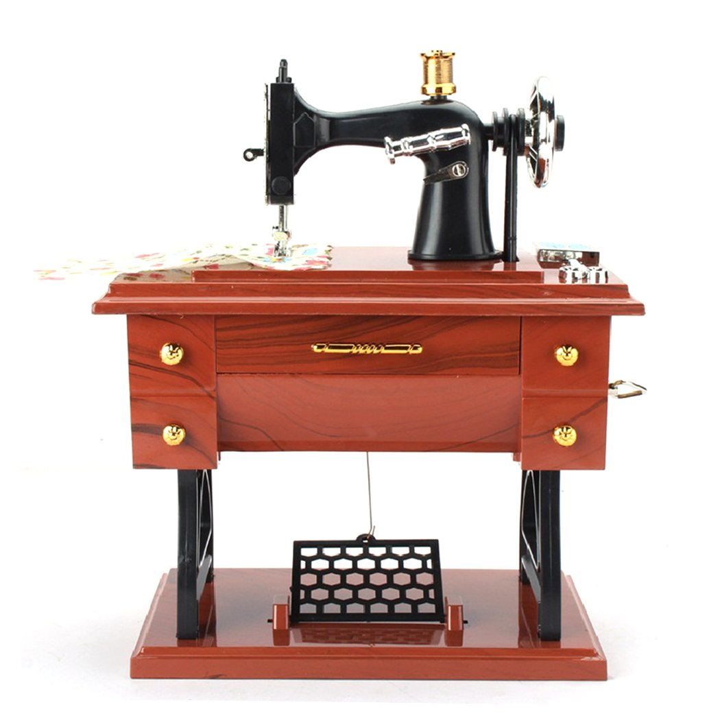 mioim Vintage Retro Sewing Machine Mini Music Box Kid Toys Birthday Gift Home Decor Jewelry Box SAIUKD*272515701