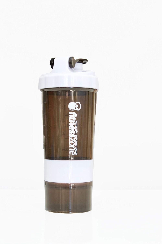 FITNESS ZONE | Shaker 650 ml Libre de BPA | Bottle Cocktail Multiusos Para Batidos, Proteínas u Otras Bebidas | Tapón Anti-Apertura | Coctelera y Mezcladora con Compartimentos y Rejilla de Acero