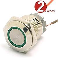 DollaTek 2Pcs 16mm 10A Interruptor momentáneo Botón pulsador