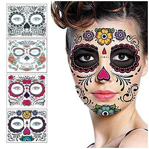 Halloween Face Tattoo Sticker Glitter Red Roses Day of The Dead Sugar Skull Scar Wound Injury Blood Fake Waterproof Removable Temporary Tattoos for Halloween Masquerade Cosplay Makeup Party 4 Pack