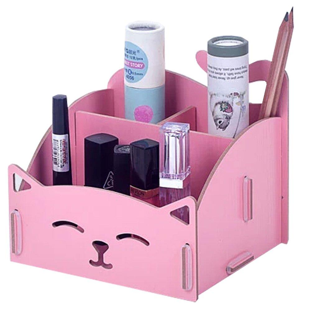 Amazon.com : DIY Wooden Cosmetics Storage Box/ Cute Cat Desktop Organizer  Box, Blue : Office Products