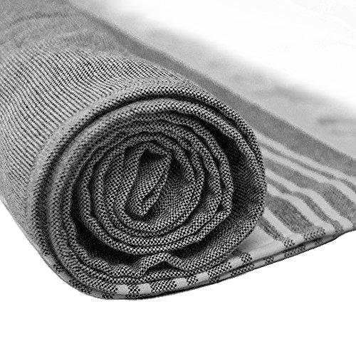(Caravalli Turkish Peshtemal Bath Sheet, York Charcoal Grey Oversized Cotton Flat Towel for Bathroom, Turkish Large Woven Cotton Beach Towel, 35 x 70 XL Luxury Gray Peshtamal Towel)