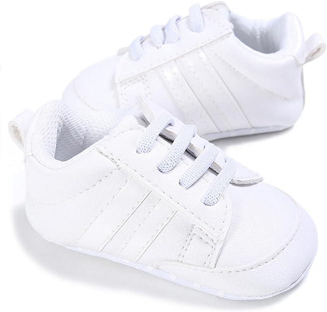 VLUNT Zapatos de Bebé Zapatillas Deportivas para Bebés Recién Nacidos Primeros Pasos Calzado Deportivo de Cuero Antideslizante Suave para Niños Pequeños Infantiles