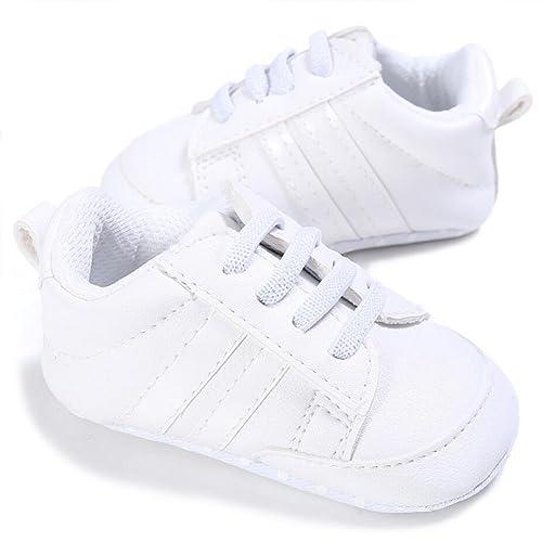 VLUNT Zapatos de Bebé Zapatillas Deportivas para Bebés Recién Nacidos Primeros Pasos Calzado Deportivo de Cuero Antideslizante Suave para Niños ...