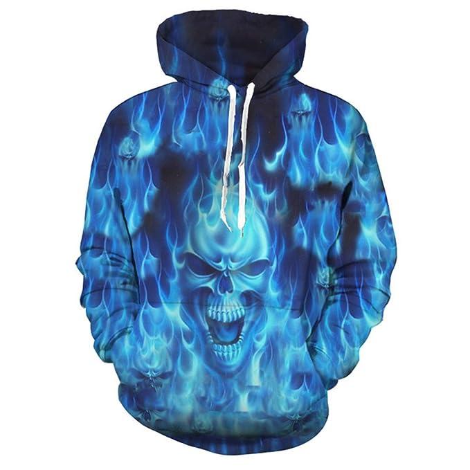 Estilo de Halloween Llama Azul Ira Cráneo Impresión Enfriar Sudaderas con Capucha Neutral Pullover Sportswear: Amazon.es: Ropa y accesorios