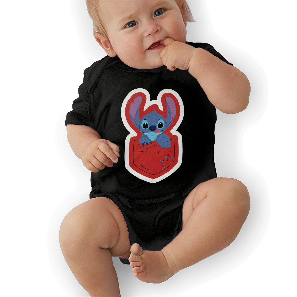 TAOHJS97 Baby Girls Alien Pocket 1 Short Sleeve Climbing Clothes Bodysuits Suit 6-24 Months