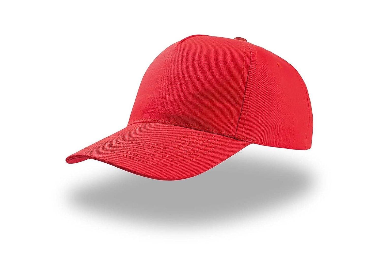 Unica Colore Cappellino Con Visiera Baseball Uomo Donna Cotone 5 Pannelli Atlantis Start Five Rosso Taglia