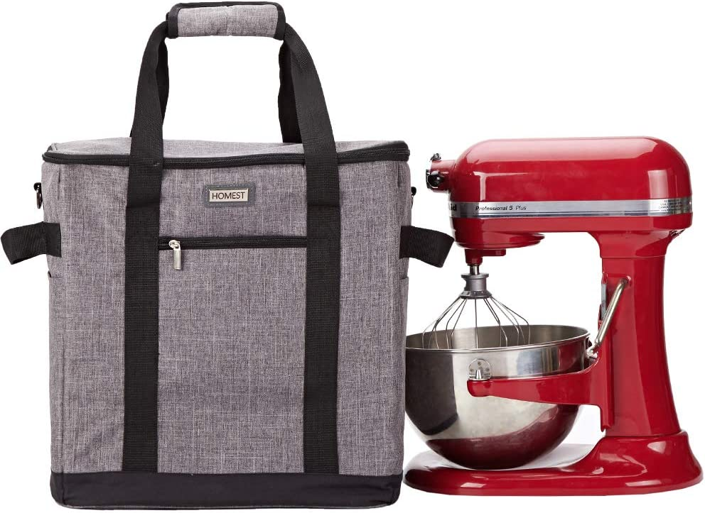 HOMEST Stand Mixer Dust Carry Bag with Pockets for KitchenAid Bowl Lift 5-8 Quart, Grey