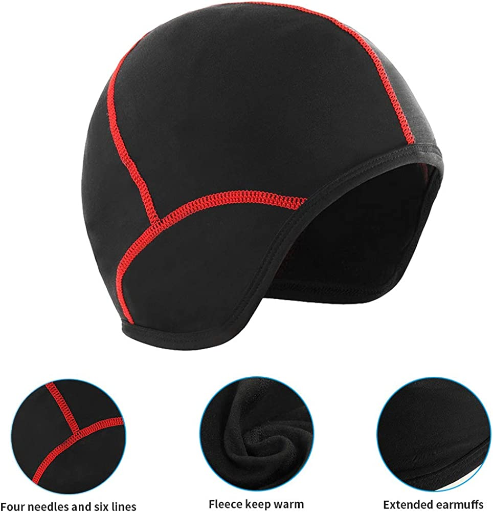 Skiing and Winter Outdoor Sports Cycling Fleece Skull Cap Beanie Helmet Liner Bicycle Breathable Cap for Running Hiking