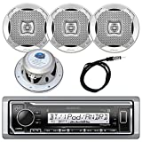"Kenwood InDash Marine Boat Bluetooth Digital USB AUX AM/FM Radio Stereo Player with 4X Lanzar 400 Watt 6.5"" Silver Audio Speakers and Enrock 45"" Radio Antenna -Complete Marine Audio Package"