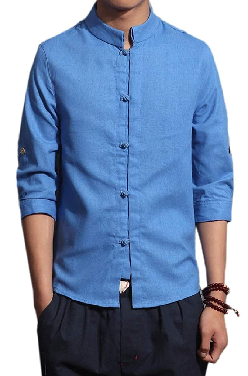YIhujiuben Mens Slim Casual Frog Button 3//4-Sleeve Cotton Linen Mandarin Collar Top