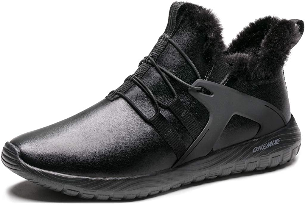 ONEMIX Mens Winter Shoes Lightweight Snow Boots Waterproof Slip on Running Sneakers with Warm Fully Fur Lined