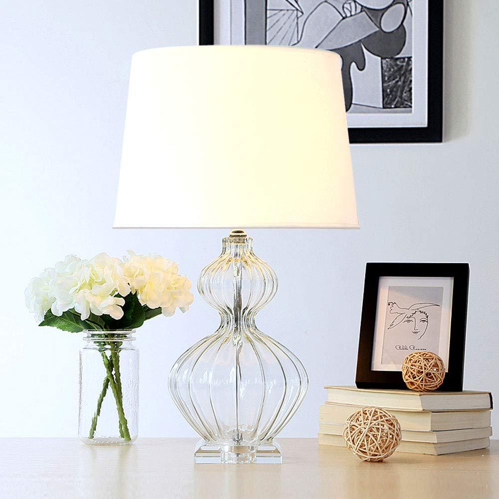 LCTCTD Creative Glass Modern Minimalist Bedroom Bedside lamp Crystal E27 lamp (Color : Transparent)