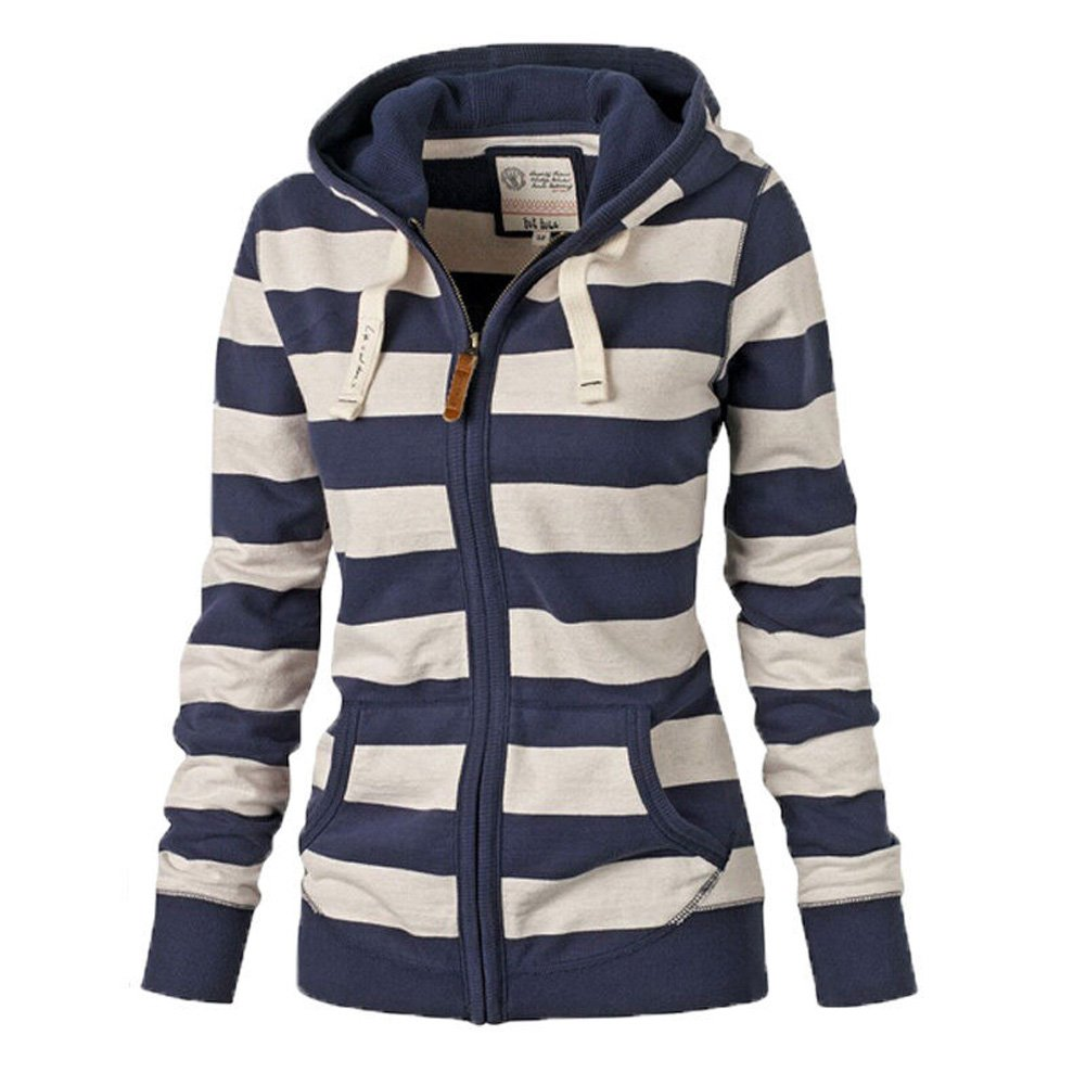LOOLY Women Plain Zipper Spring Hoodie Striped Hooded Jacket (Thin)