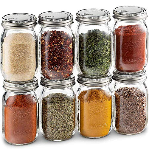 Ball Spice Jars [Set of 8] Mini Mason Jars 4 oz. Small Glass Storage Jars With Lids - For Herbs & Spices, Jelly, Honey Jars, (Not Canning) Favors, DIY & Crafts - Bundled With SEWANTA 28 Spice Labels