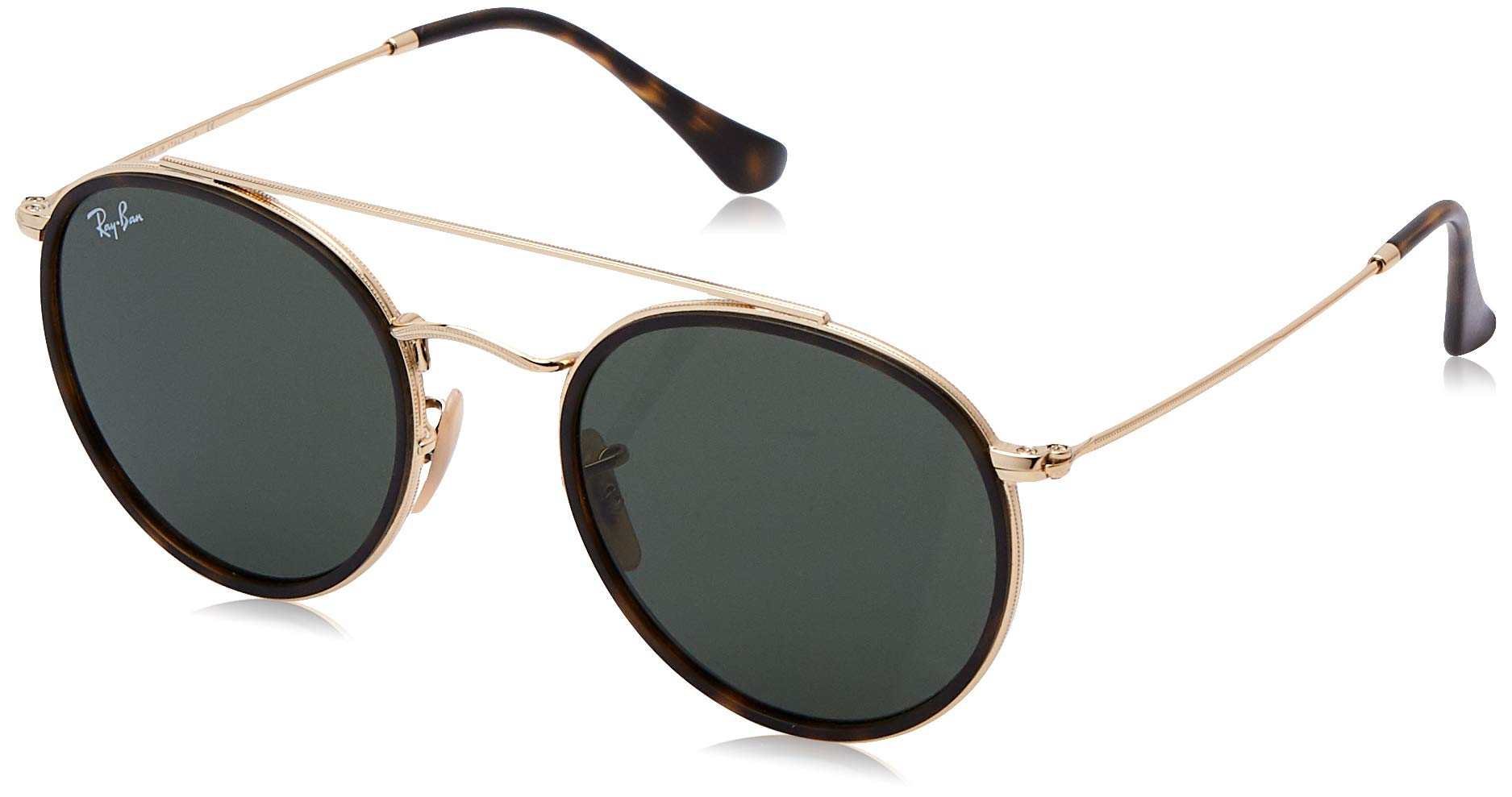 RAY-BAN RB3647N Round Double Bridge Sunglasses, Gold/Green, 51 mm by RAY-BAN