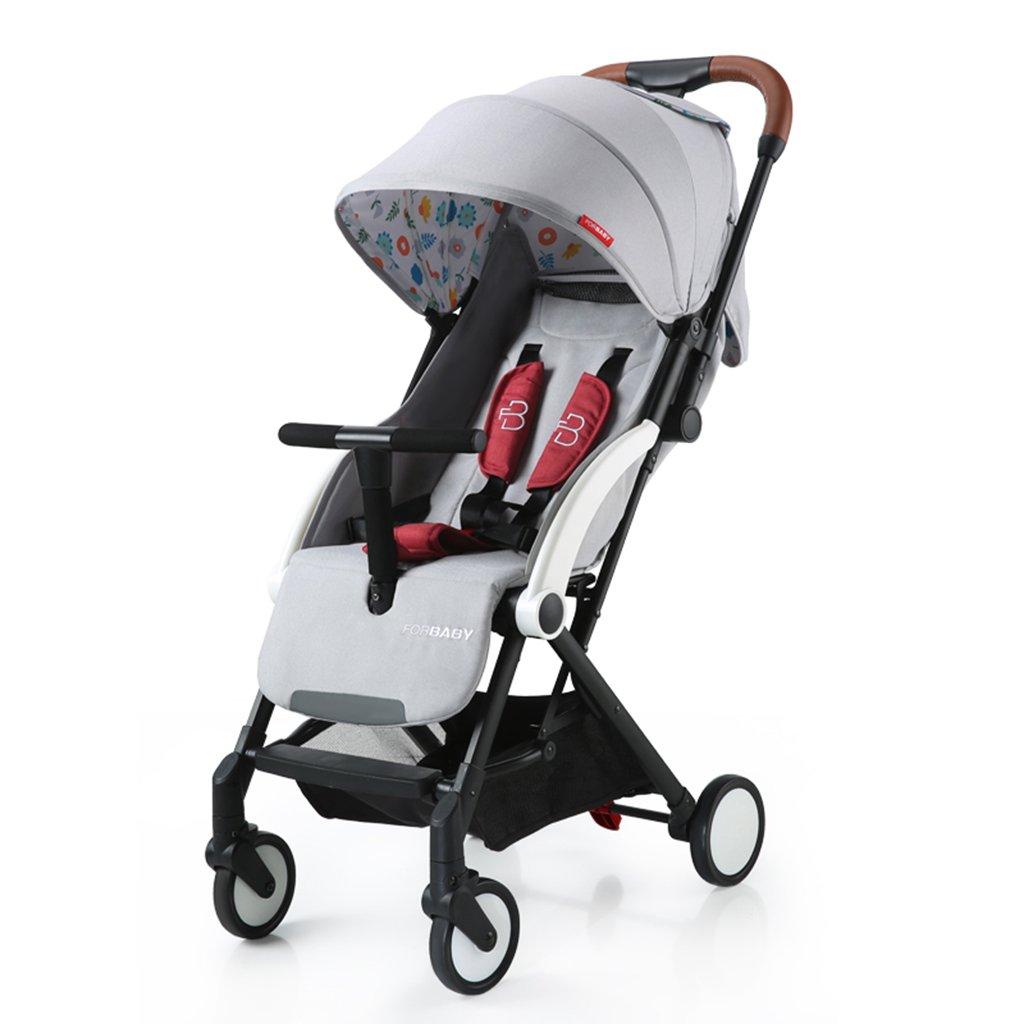 HAIZHEN マウンテンバイク 赤ちゃんプッシュUltralightは折りたたみ可能な赤ちゃんのキャリッジを寝かせることができますサンシェード日焼け防止日焼け防止EVAフォームショックアブソーバータイヤトロリー60 * 41 * 103センチメートル 新生児 B07DL96WH8 グレー グレー