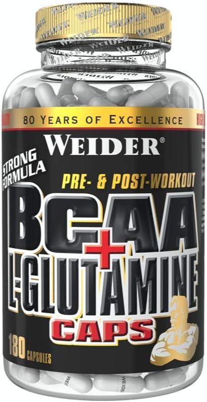 Weider BCAA+L-Glutamine 180 Cáps. 1800 mg de L-Glutamina, 3600 mg BCAAs (aminoácidos ramificados) por toma.