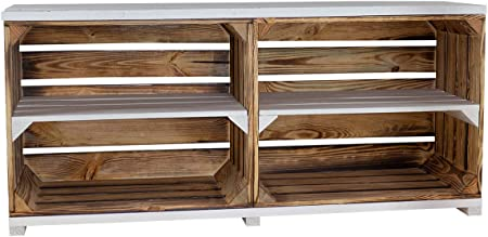 Vintage Möbel 24 GmbH - Mueble para televisor de Madera, con Exterior Flameado e Interior Blanco, 4 Ruedas, 100 x 30 x 50 cm: Amazon.es: Hogar