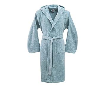 Bassetti Albornoz unisex con capucha,sky, de rizo de algodón puro de 370 gr/m², talla M ...: Amazon.es: Hogar