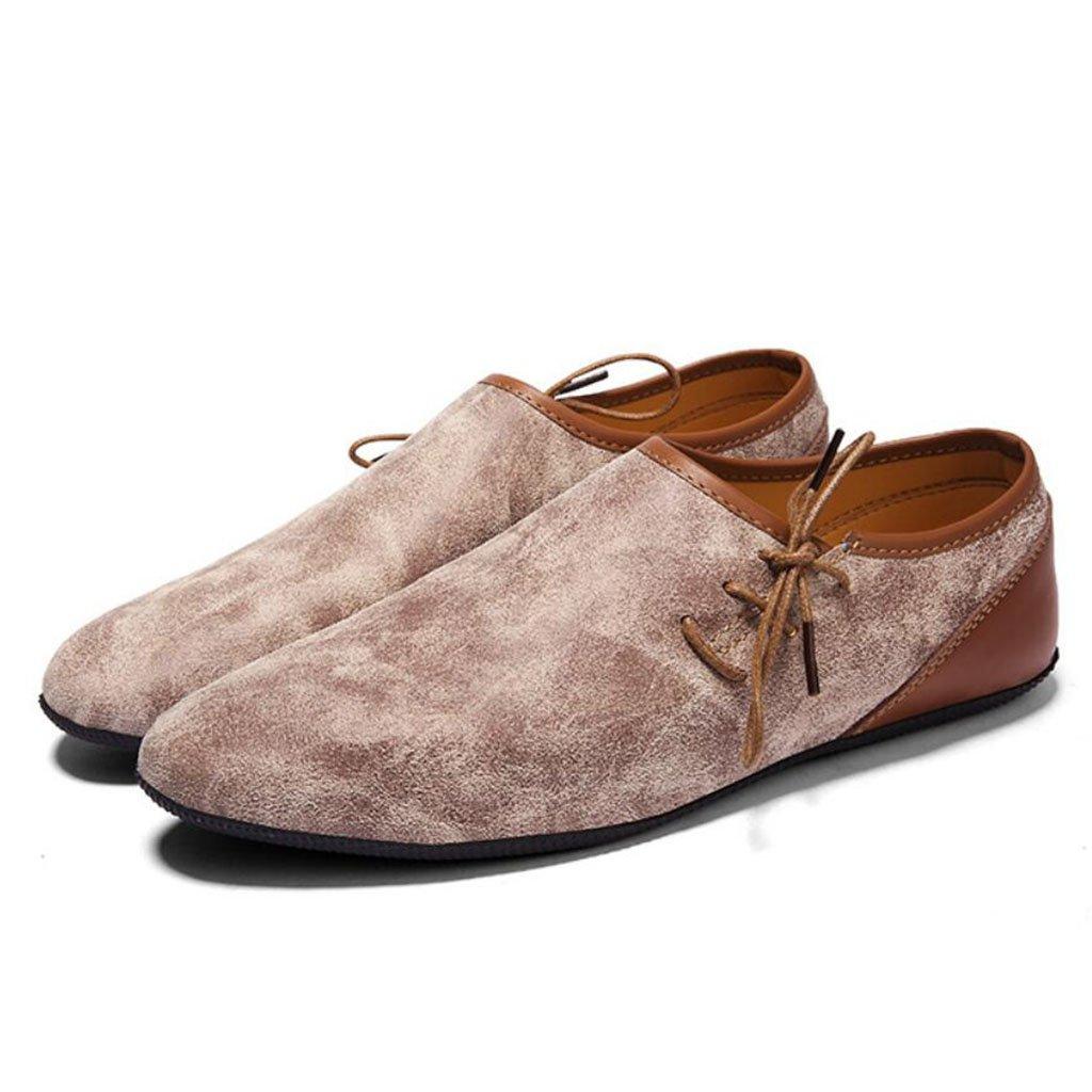 GAOLIXIA Zapatos de conducción de cuero de los hombres Zapatos planos de primavera de estilo británico de la primavera del verano Zapatos perezosos de la moda (Color : Beige, tamaño : 40) 40|Beige