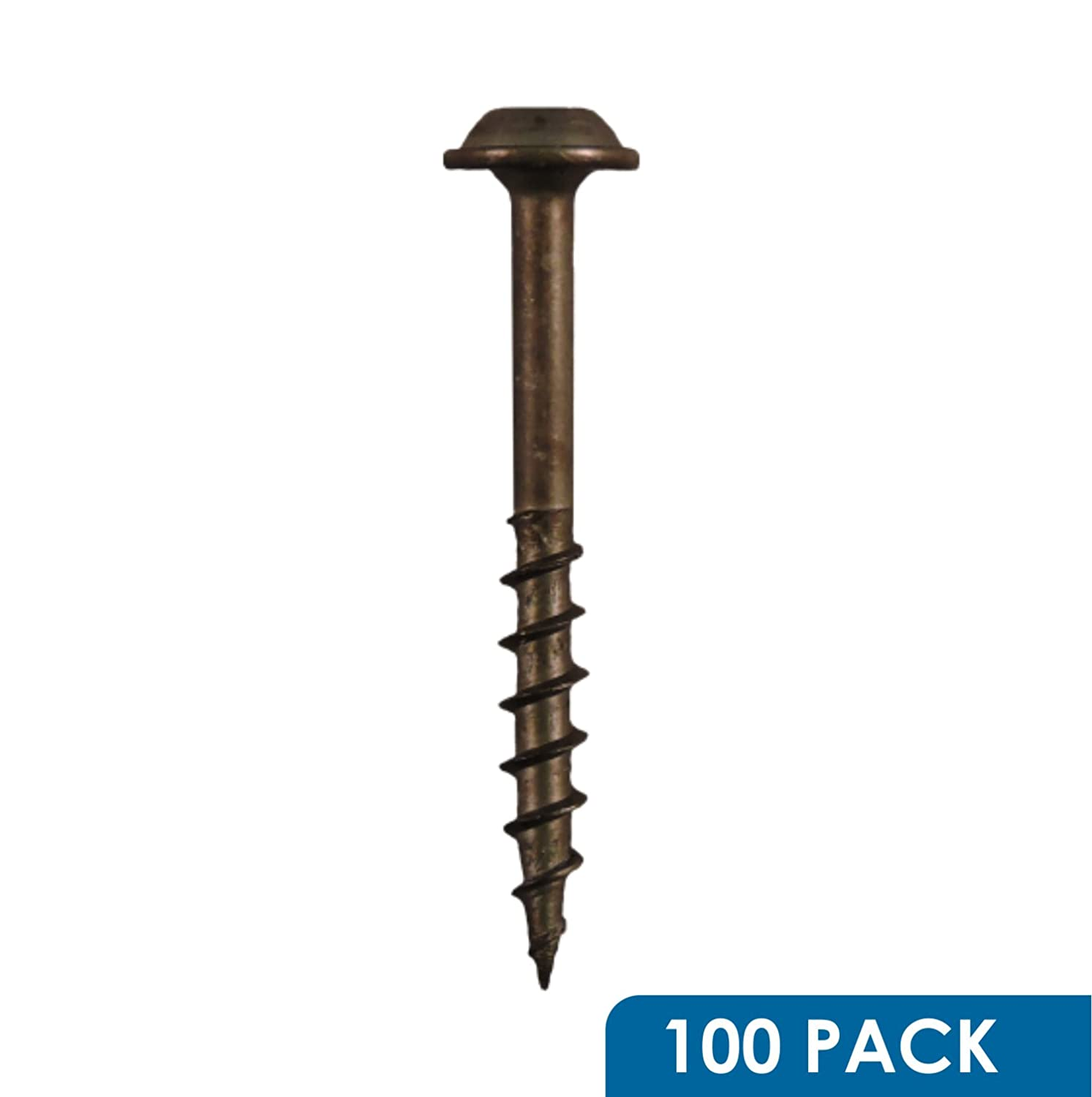 Rok Hardware #8 x 1 Pocket Hole Deck Screws Square Drive Round Washer Head Wood Deep Coarse 100 Pack S8X1WSQCS-100