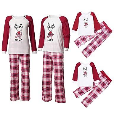 85c0b3fbc Baby Boy Girl Elk Print T Shirt Tops Plaid Pants Xmas Pajamas Family ...