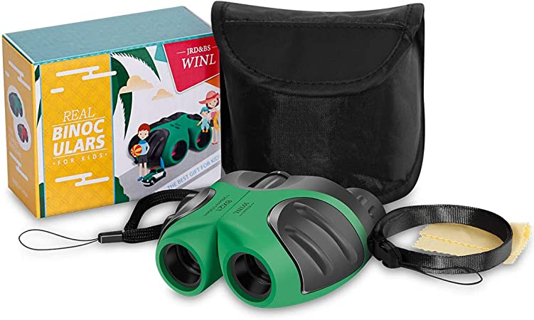 JRD/&BS WINL Gifts for 3-12 Years Old Boys,Compact 8x21 Shock Proof Binoculars for Bird Watching Kids Telescope for Teens Toys for 3-12 Years Old Boys Green