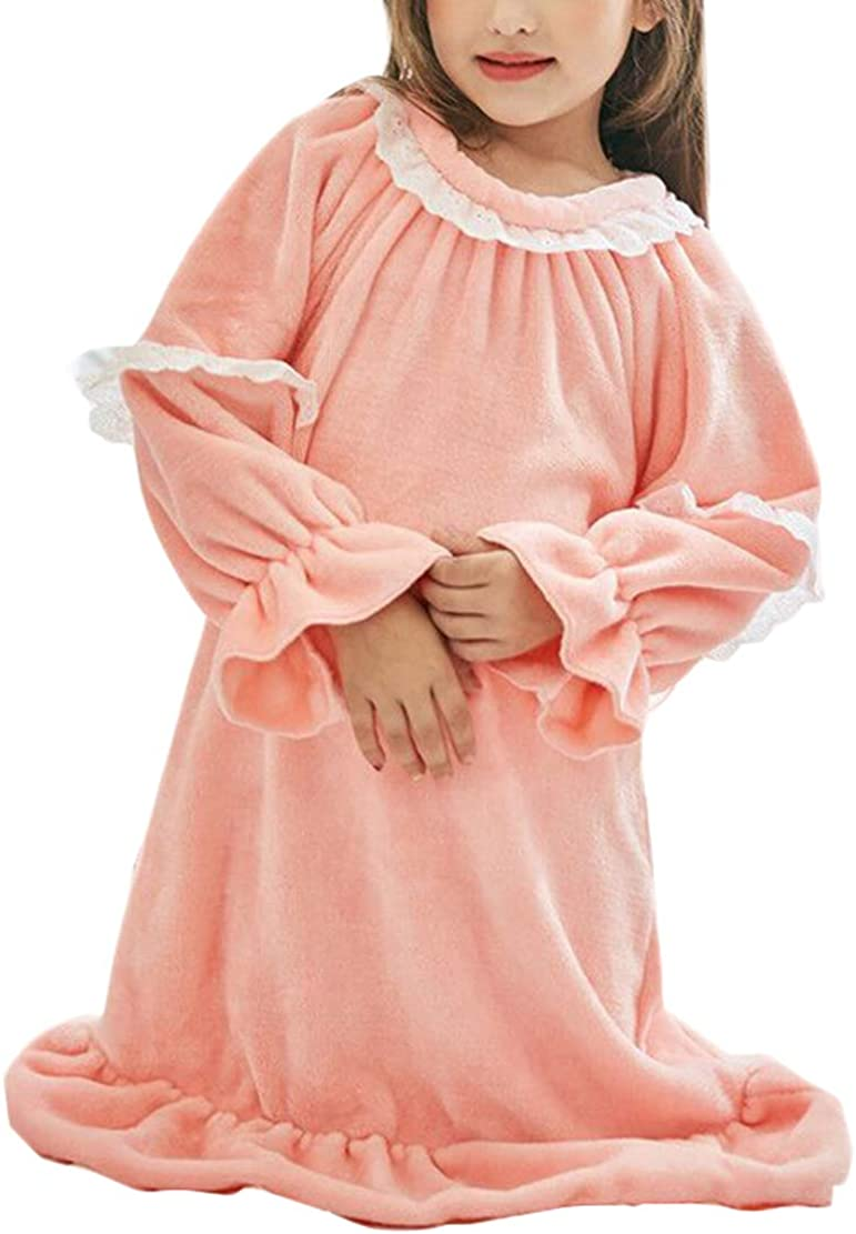 Nightgowns Nightgown Girl Winter Flannel Long Pajamas Long Sleeve Sleepwear for 90-150CM