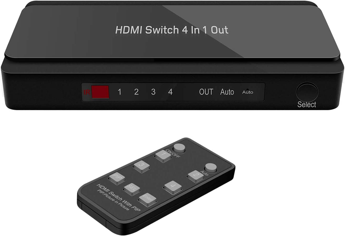 HDMI Switch 4 Port HDMI Switch with Remote 4 Input 1 Output HDMI Switch Box Support 4K@30Hz 1080P 3D Support PIP Features for TV Stick, Roku, PS3, PS4, Xbox, Apple TV, DVD