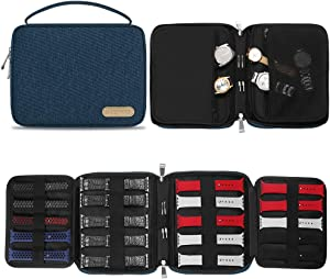 SIMBOOM Watch Bands Storage Bag, Nylon Spill-Resistant Watch Band Organizer Bag Carrying Case Travel Watch Straps Carrying Bag Pouch for Watch Bands, Watch Band Pin, Cable, Headset (Blue)
