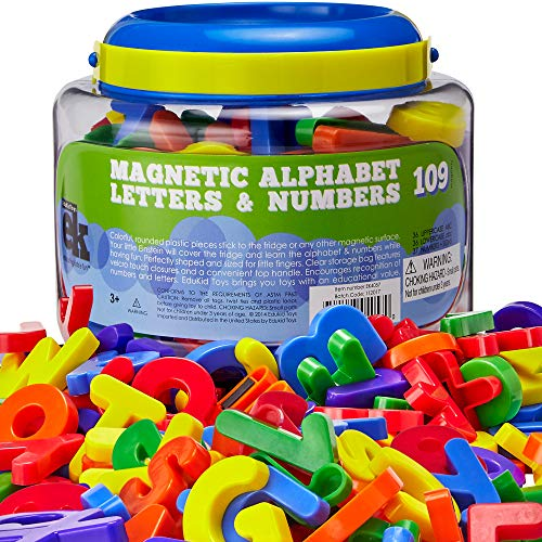 EduKid Toys ABC Magnets - 109 Magnetic Alphabet Letters & Numbers with Take Along Bucket ()
