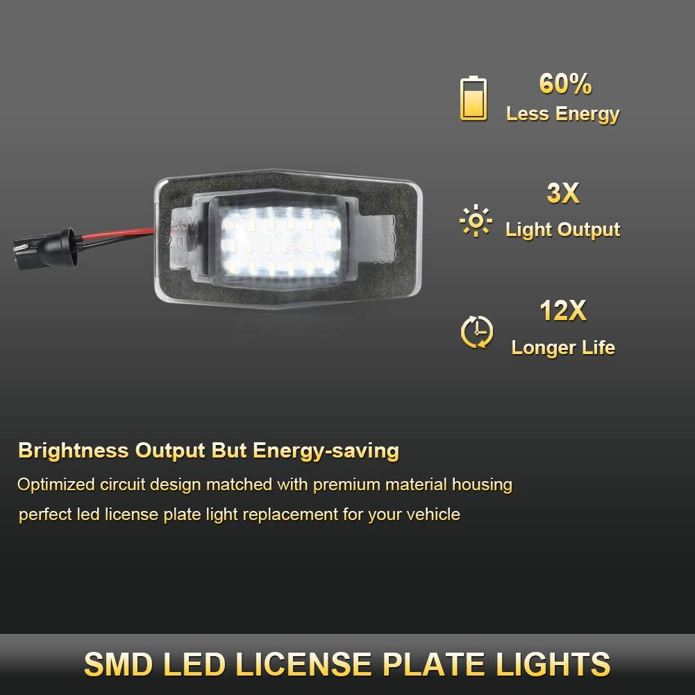 Powered by 18SMD Xenon White LED Lights GemPro 2Pcs License Plate Light Lamp Assembly For Mazda Miata MX-5 Prot/ég/é MPV Tribute Ford Escape Mercury Mariner