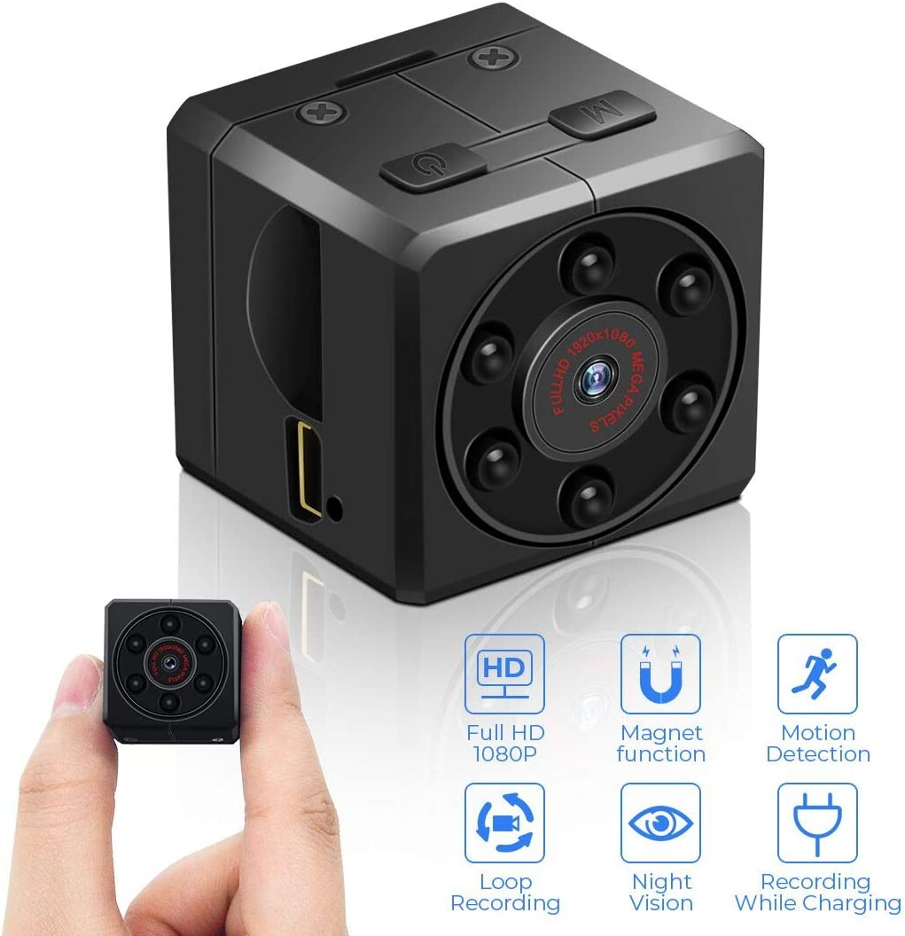 Mini Spy Camera Hidden Camera Full HD 1080P Portable Nanny Cam with Upgraded Motion Detection and Night Vision, Video Camera Wireless Micro Security Camera Support to 128GB SD Card Not Included