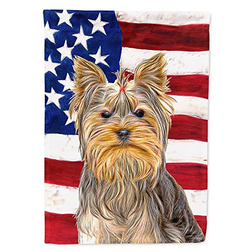 Caroline's Treasures KJ1156GF USA American Flag with Yorkie/Yorkshire Terrier Flag, Small, Multicolor