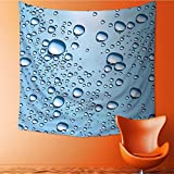 Popular art tapestry Water Marks Ice C Soda Commercial Like Glass Drops Ice Blue and White Room bedroom living room dormitory decoration32W x 32L Inch